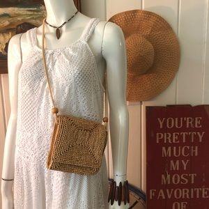 Vintage Woven Rattan Raffia Crossbody Bag purse